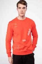 Erkek Kapşonlu Şerit Şeklinde Yazı Baskılı Slim Fit Sweatshirt K5176AZ.18WN.RD287