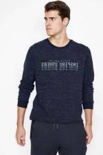 Erkek Mavi Yazılı Baskılı Sweatshirt 9KAM71226LK
