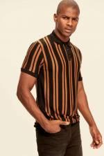 Siyah Erkek Polo Yaka T-shirt - Çizgili Triko TMNAW19OS0112